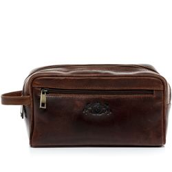 SID & VAIN wash bag GATWICK  Travel Overnight Wash Gym Shaving Bag For Men's Or Ladies  L brown Natural Leather toiletry bag
