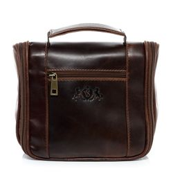 SID & VAIN hanging washbag HEATHROW -1510- travel necessaire PULL-UP leather - brown-cognac