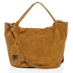 BACCINI Handtasche Wildleder braun-beige Henkeltasche Handtasche mit langen Henkeln 3
