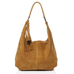 BACCINI hobo bag SELINA -1604- shoulder bag SUEDE leather - light-tan