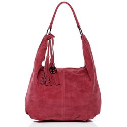 BACCINI hobo bag SELINA -1604- shoulder bag SUEDE leather - fuchsia