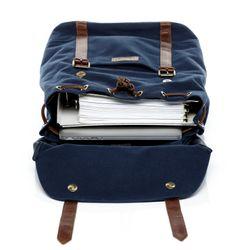 SID & VAIN Rucksack Canvas & Leder blau-braun Backpack Tagesrucksack Kurierrucksack Rucksack 3