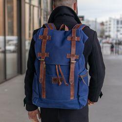 SID & VAIN Rucksack Canvas & Leder blau-braun Backpack Tagesrucksack Kurierrucksack Rucksack 5