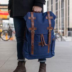 SID & VAIN Rucksack Canvas & Leder blau-braun Backpack Tagesrucksack Kurierrucksack Rucksack 8