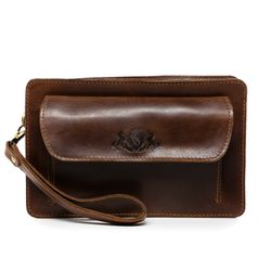 SID & VAIN wrist bag CORNWALL -1732- men's bag PULL-UP leather - brown-cognac