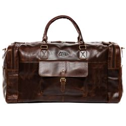 SID & VAIN travel bag YALE -1711- weekender PULL-UP leather - brown-cognac