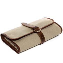 SID & VAIN hanging washbag HEATHROW -1714- travel necessaire CANVAS-PULL-UP leather - sand-brown