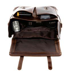 SID & VAIN sac appareil photo cuir marron sac camera intérieur modulable Housse caméra à bandoulière en cuir 4