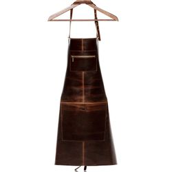 SID & VAIN leather apron HEATHROW -1729- cooking apron PULL-UP leather - brown-cognac