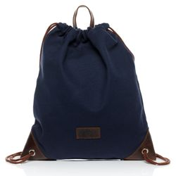 "SID & VAIN  leather & canvas drawstring bag STANTON -1733- bucket bag ""gym style"" - blue-brown"