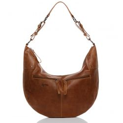 BACCINI hobo bag SIENNA -8- shoulder bag PULL-UP-MILLED leather - tan-cognac