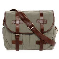 SID & VAIN Messenger bag Canvas & Leder grau und schwarz Laptoptasche Messenger bag