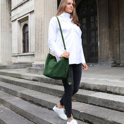 BACCINI Handtasche lange Henkel SELMA Wildleder grün Henkeltasche Handtasche mit langen Henkeln 5