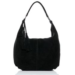 BACCINI hobo bag SELINA -1604- shoulder bag SUEDE leather - black