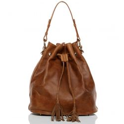 BACCINI hobo bag STELLA -1900- shoulder bag PULL-UP-MILLED leather - tan-cognac
