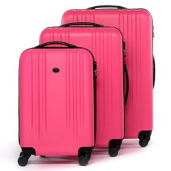 FERGÉ luggage set 3 piece Marseille  hard shell trolley 3 sizes pink ABS suitcase set 4 spinner wheels