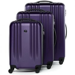 FERGÉ luggage set 3 piece Marseille  hard shell trolley 3 sizes Purple ABS suitcase set 4 spinner wheels
