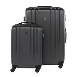 "FERGÉ set 2 Hard-case luggage (Carry-On & L) Marseille  Suitcase Hardside Spinner trolley set 2 sizes grey ABS two pcs 20"" & 24"" hard shell luggage 4 spinner-wheels (360)"