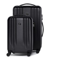 FERGÉ ensemble de 2 valise: bagage cabine + grand ABS noir trolley de cabine & grand rigide leger bagage à main 4 roulettes 360 degrés