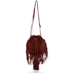 BACCINI shoulder bag SANDRA -1618- handbag SUEDE leather - bordeaux