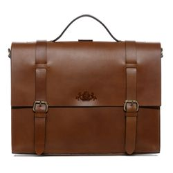 SID & VAIN Aktentasche BOSTON DUO Sattelleder hellbraun-cognac Laptoptasche Multifunktionstasche Aktentasche