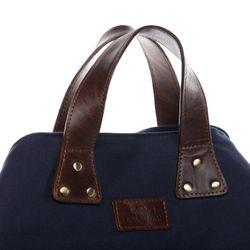 SID & VAIN Strandtasche NELLA Canvas & Leder blau-braun Urlaubstasche Schultertasche Tragetasche Strandtasche Umhängetasche 3