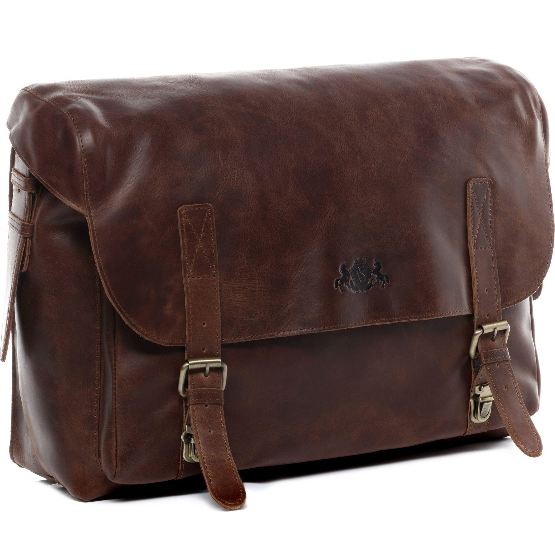 8170ea191 SID & VAIN briefcase Natural Leather ETON brown-cognac office laptop ...