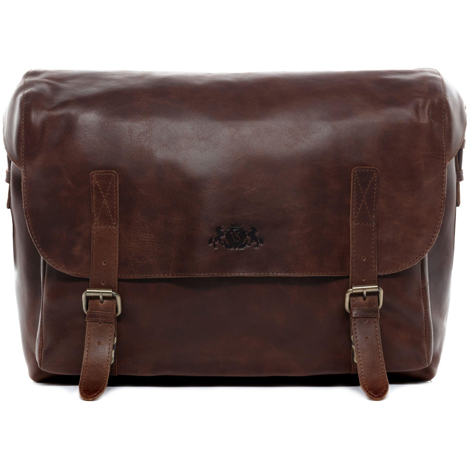 e030ad5c138c7 SID & VAIN briefcase Natural Leather ETON brown-cognac office laptop  business bag portable computer shoulder bag Business