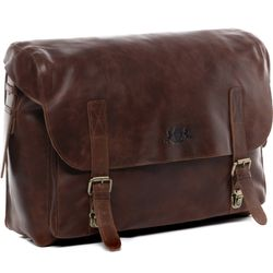 SID & VAIN briefcase ETON 15'' office work bag XL brown Smooth Leather portable computer briefcase shoulder strap