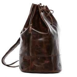 SID & VAIN Sea Bag Kitbag HEATHROW -1723- drawstring match sack PULL-UP leather - brown-cognac
