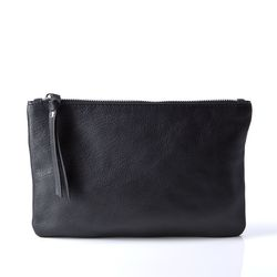 BACCINI cosmetic bag MEL -165-M- makeup pouch SMOOTH leather - black