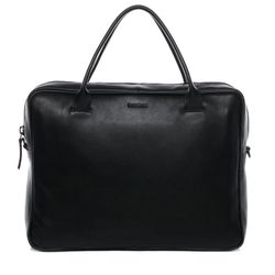 FEYNSINN laptop bag FINN 15,4'' business office work school bag  L black Smooth Leather portable computer briefcase shoulder strap