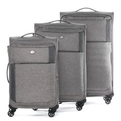FERGÉ luggage set Saint-Tropez -SS-01- 3 suitcases hard-top cases raw-denim leather - grey-darkgrey