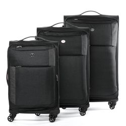 FERGÉ luggage set Saint-Tropez -SS-01- 3 suitcases hard-top cases raw-denim leather - black-darkgrey