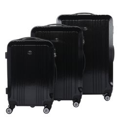 FERGÉ 3 suitcases hard-top cases CANNES -XB-03- trolley set ABS&PC - all-black-emboss