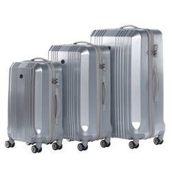 FERGÉ Kofferset 3-teilig Hartschale Silver Metal Optik 3er Hartschalenkoffer Trolley-Set 4 Zwillings-Rollen 360° Kofferset 3-teilig Hartschale 8