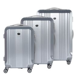 FERGÉ Kofferset 3-teilig Hartschale Silver Metal Optik 3er Hartschalenkoffer Trolley-Set 4 Zwillings-Rollen 360° Kofferset 3-teilig Hartschale 1