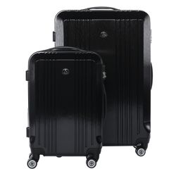 FERGÉ 2er Kofferset Handgepäck + XL CANNES ABS & PC Full Black Trolley-Hartschalenkoffer Set 4 Rollen Kofferset 2-teilig Hartschale 55 cm