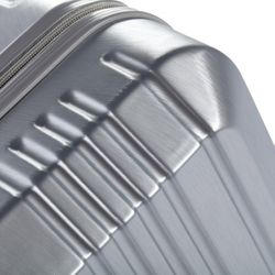 FERGÉ 2er Kofferset Handgepäck + XL CANNES ABS & PC Silver Metal Optik Trolley-Hartschalenkoffer Set 4 Rollen Kofferset 2-teilig Hartschale 55 cm 4