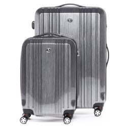 FERGÉ 2er Kofferset CANNES - Handgepäck & Koffer XL carry-on+28l ABS & PC silber 2 Trolley-Hartschalenkoffer 4 Zwillingsrollen (360°)