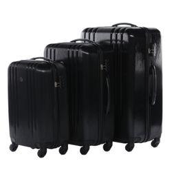 FERGÉ 3er Kofferset Marseille ABS Dure-Flex Schwarze Metal Optik 3er Hartschalenkoffer Roll-Koffer 4 Rollen Kofferset Hartschale 3-teilig 2