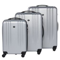 FERGÉ trolley set Marseille -XB-06-3- 3 suitcases hard-top cases ABS - silver-emboss