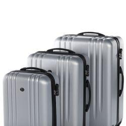 FERGÉ 3er Kofferset Marseille ABS Dure-Flex Silver Metal Optik 3er Hartschalenkoffer Roll-Koffer 4 Rollen Kofferset Hartschale 3-teilig 4