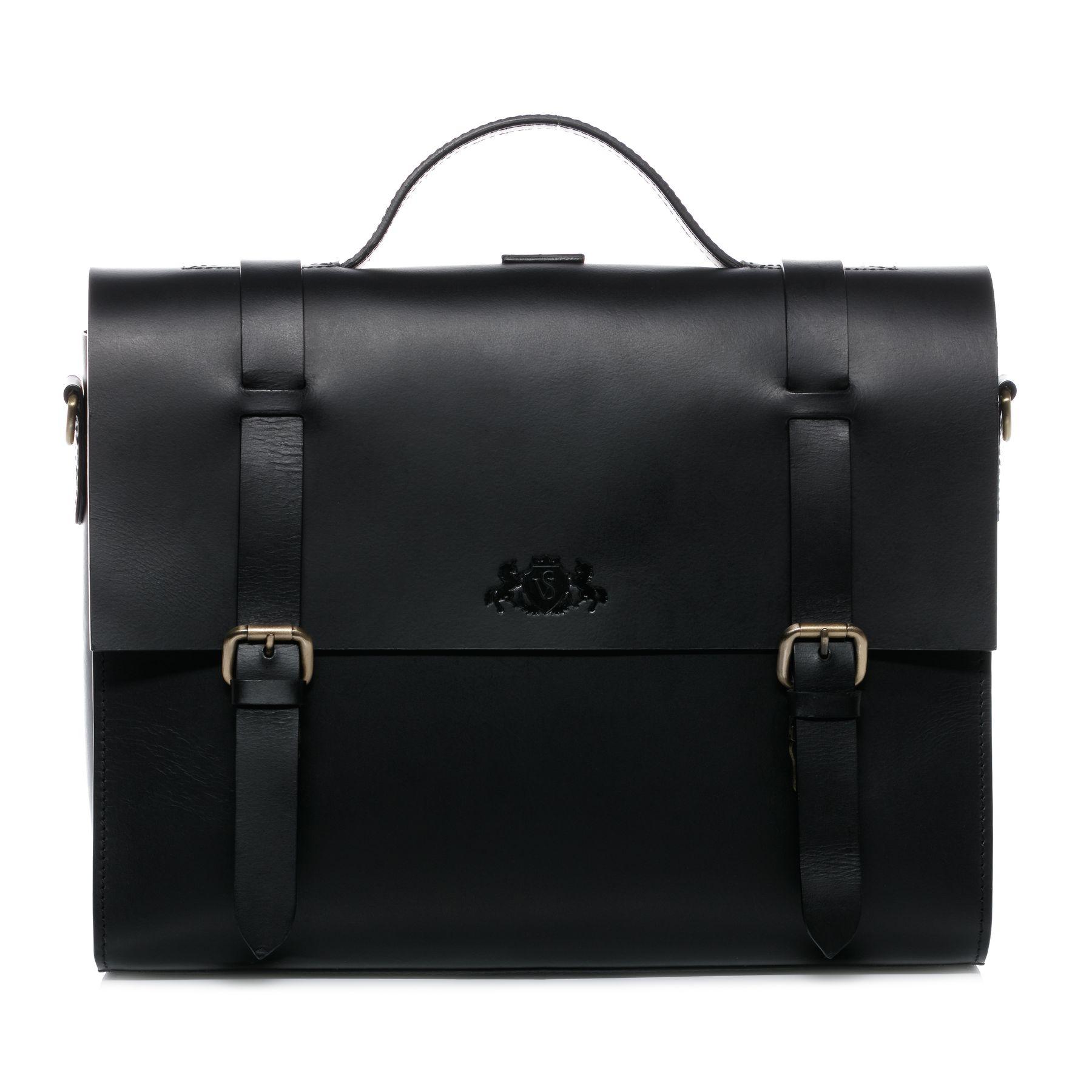 08e20697a SID & VAIN briefcase & backpack Saddle Leather BOSTON DUO black office  laptop business bag portable computer shoulder bag Business