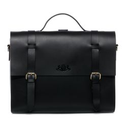 SID & VAIN Aktentasche BOSTON DUO Sattelleder schwarz Laptoptasche Multifunktionstasche Aktentasche