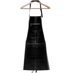 SID & VAIN leather apron HEATHROW -1729- cooking apron SMOOTH leather - black