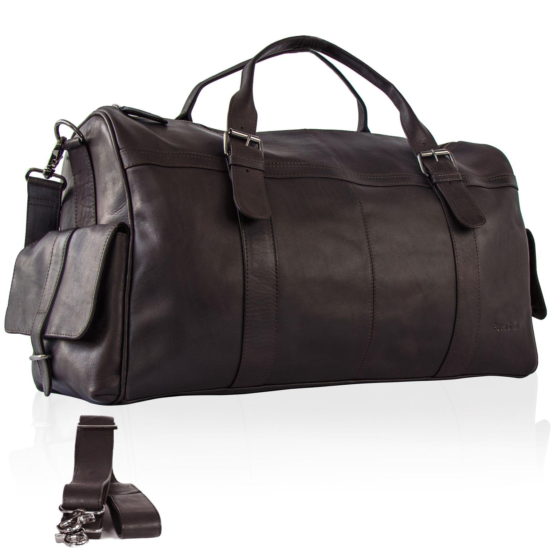 3485392903db FEYNSINN travel bag holdall Smooth Leather ASHTON brown weekender ...