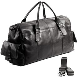 FEYNSINN travel bag carry-all  ASHTON  weekender duffel bag XL black Smooth Leather overnight duffle bag hold-all