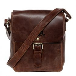 SID & VAIN cross-body bag YALE -1702- leather bag with shoulder strap PULL-UP leather - brown-cognac