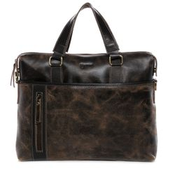 BACCINI laptop bag LEANDRO -519- business bag SPLITT DISTRESS leather - brown-contrastdark